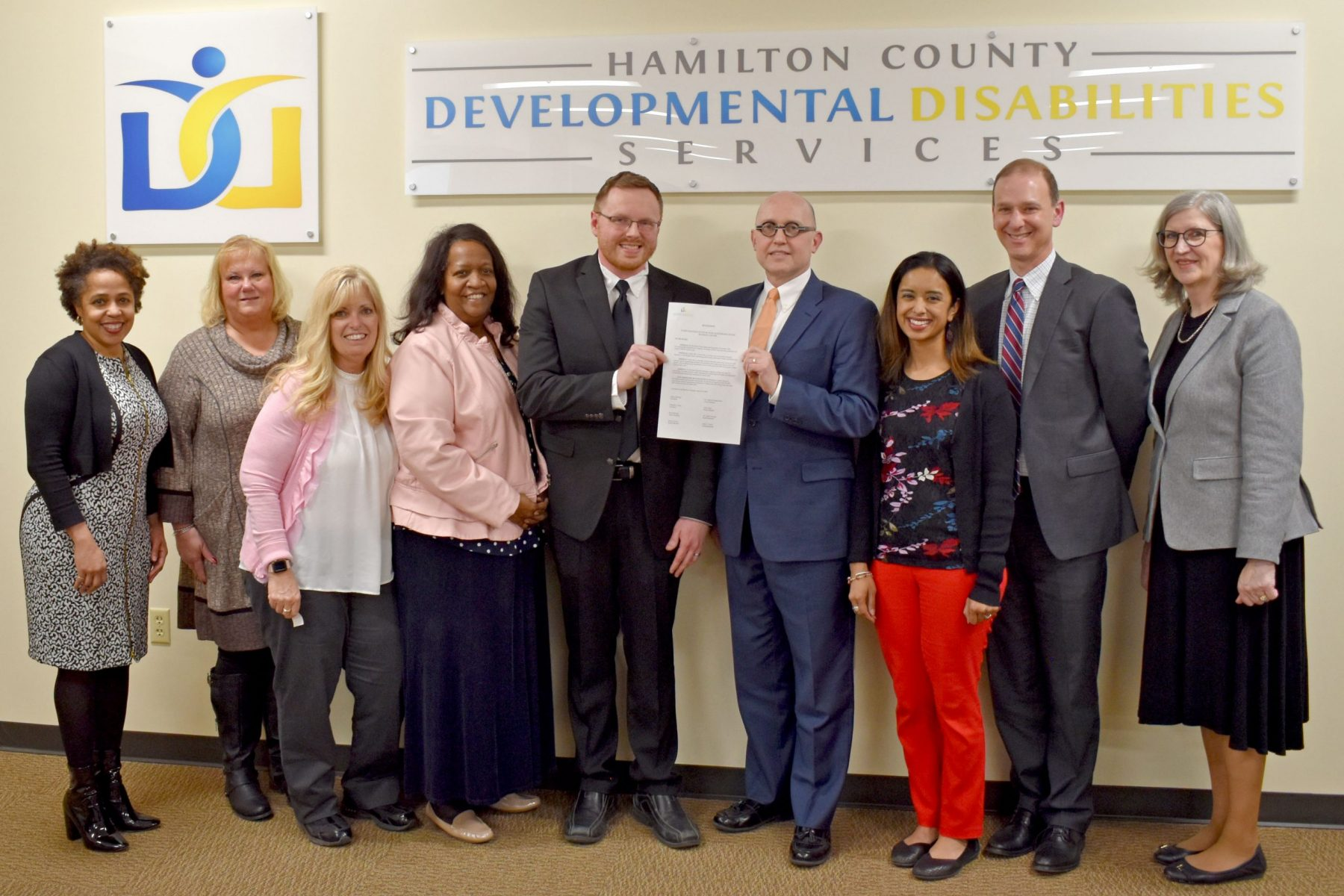 the hamilton county dd services board presents a proclamation to Beckman Adult Center